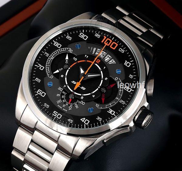 Fashion Mens Tag Grand Carrera Mercedes Benz Sls Formula Quartz Chronograph Wristwatches Calibre 100 Stainless Steel Watches For Men