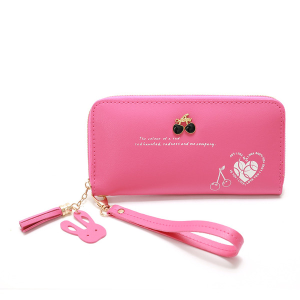 women wallet purse long cherry decoration high capacity coin purse key card package tassel clutch printing wallets girl purses (498270113) photo