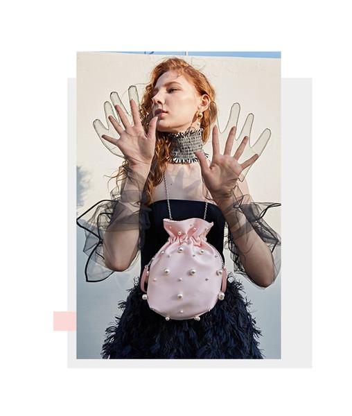 fashion pearl chain buckets bag unique luxury women shoulder crossbody bags designer lady handbags small crossbody pouch purses (502088767) photo