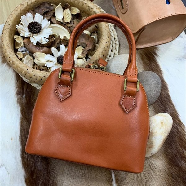 vintage genuine leather women's tan shell purse lady mini chic handbag authentic real cow skin female single cross shoulder bag (513549945) photo