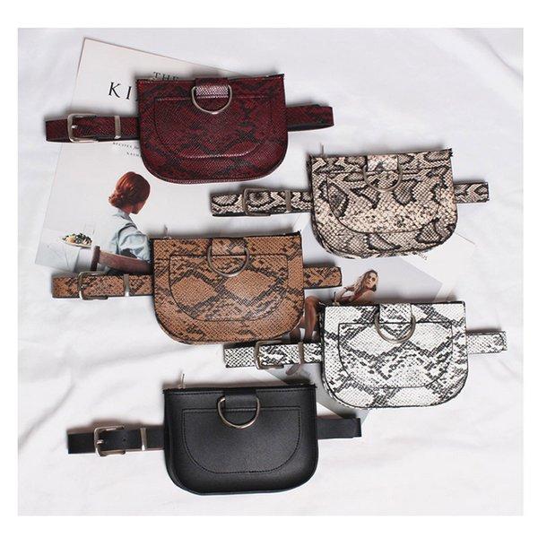 2020 serpentine woman purse waist belt half round waist belt mobile phone zero wallet zipper bag woman (523280906) photo