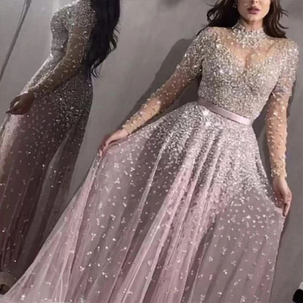 Women Elegant Formal Evening Party Mesh Long Sleeve High Waist Sequins Shiny Wedding Long Dress 2020 Top High Quality Vestidos