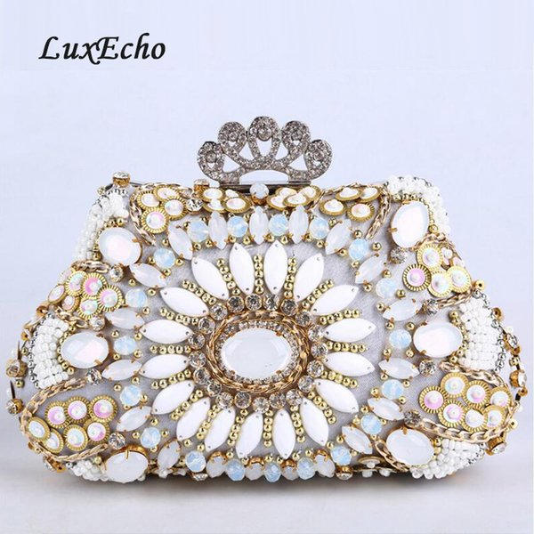 pearl diamonds crown evening bag women's rhinestone day clutch female wedding/party bags beaded purse girl handbags (492018599) photo