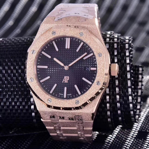 15 colors top Diamond automatic Royal Frosted Black Dial Oak mens rose Gold Watch Silver-tone hands Fixed bezel 42mm size glide mens watch (emmawatch) Newark