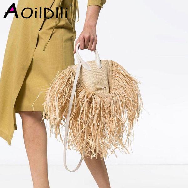 fashion tassel straw bags rattan weave women handbags designer luxury handmade paper shoulder crossbody bags summer beach purses (503698113) photo