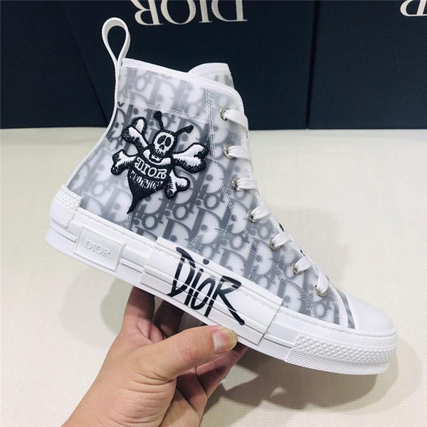 """2020 Newest Flowers Technical Canvas """" B23"""" High-Top Sneaker Oblique Casual High Quality Trainers Womens Mens Shoes Designer Shoes"""