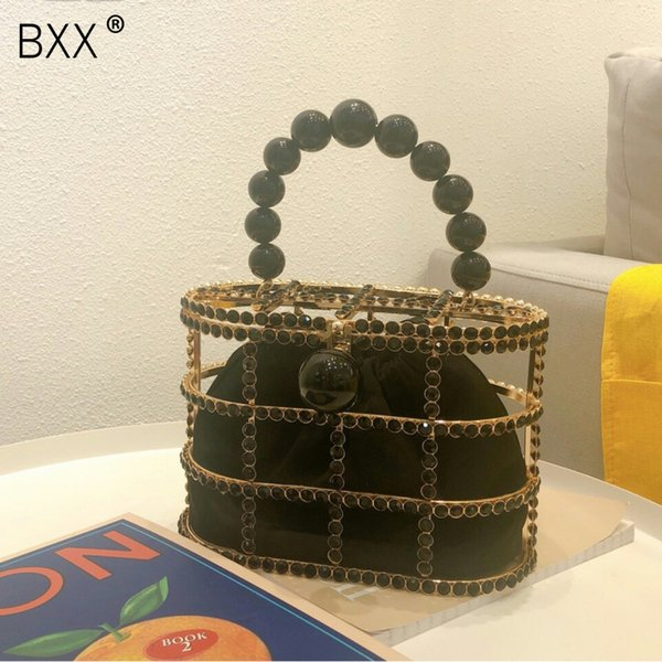 [bxx] metal pearl evening clutch bag women fashion style handmade bucket purses 2020 ladies brand hollow out party handbag hk067 (517093019) photo
