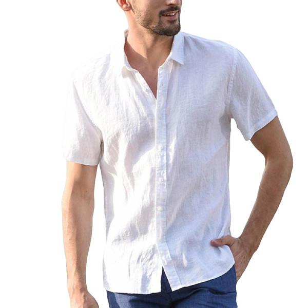 plus szie solid men's cotton daily casual short sleeve shirt