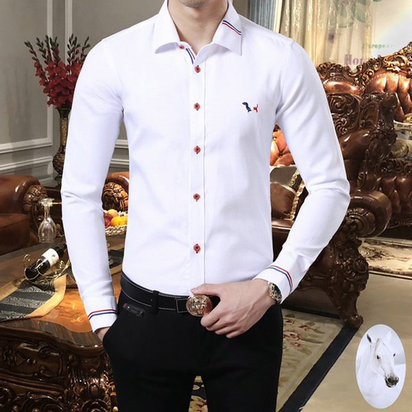 Luxury mens designer long sleeve shirts firmate business dress shirts fashion casual brand shirt print slim shirt homme button up 119 фото