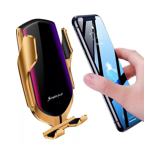 R1  mart automatic clamping car wirele   charger for iphone x xr x  8 plu  galaxy  10  9 fa t charge air vent mount phone holder   box