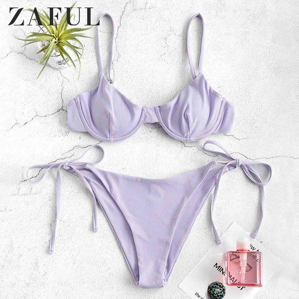 zaful_ribbed_underwire_tie_side_bikini_set_spaghetti_straps_low_waisted_swim_suit_underwire_padded_push_up_bathing_suit