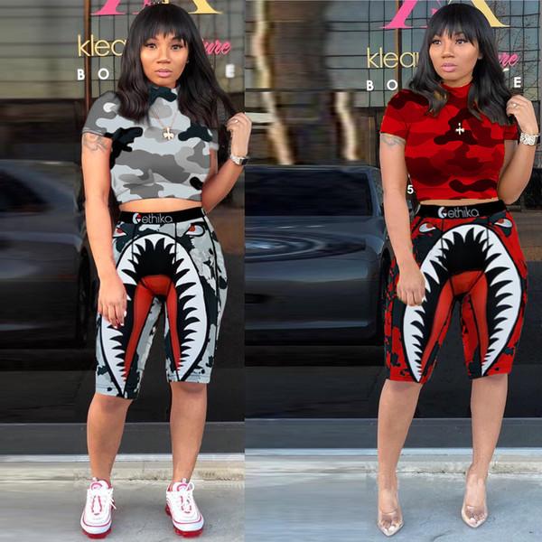 Women Designer Swimsuit Shark Swimwear Sports t shirt + Shorts Trunks 2 Piece Brand Tracksuit Quick Dry Set Cloth C61711
