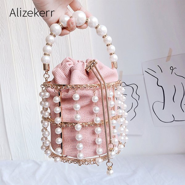 pearls metallic cage evening clutch bag women sweet hollow out bucket handmade purses and handbag bridal beaded shoulder bag new (499095706) photo