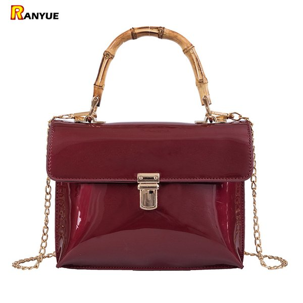 woman bag patent leather women handbags bamboo handles tote bags for women purse chain shoulder messenger square bag red (450256141) photo