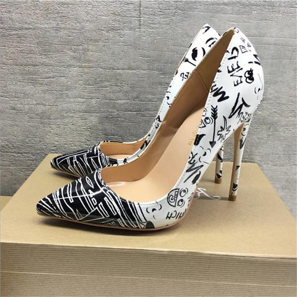 2019 бесплатная доставка мода женщины свадебные сексуальные граффити печати кожа Poined пальцы на высоких каблуках туфли на шпильках туфли на каблуках насосы 12 см 10 см фото