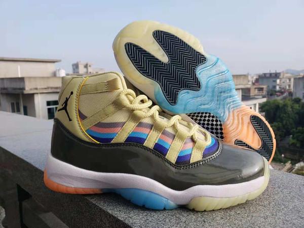 Nike Air Jordan Retro Shoes 11 11S XI Мужчины баскетбольные кроссовки черные желтые кроссовки спортивные кроссовки кроссовки для 3D Dazzle Design Размер 40-46
