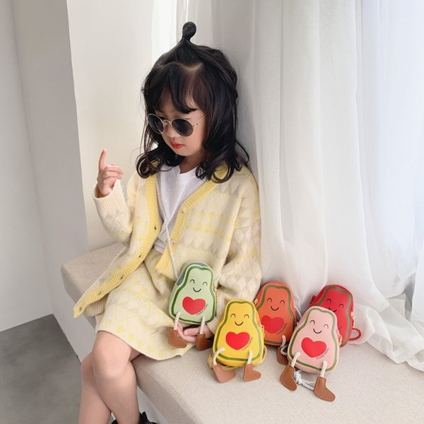 korean-style children oblique bag women's cartoon avocado baby accessories purse little girl mini shoulder gong zhu bao (524284584) photo