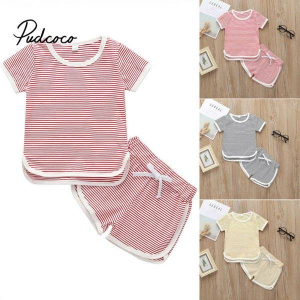 pudcoco 2019 Children Clothing Suits For Girls Clothes Kids Toddler Enfant Fille Infantis Outfits Stiped T-shirts + Short Pants pudcoco 2019 Children Clothing Suits For Girls Clothes Kids Toddler Enfant Fille Infantis Outfits Stiped T-shirts + Short Pants