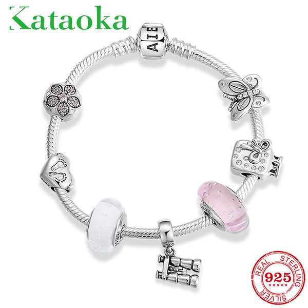 sensitive_argent_925_fleur_télescope_clip_perles_de_verre_bracelet_bracelets_pour_bijoux_bracelets_pendentif_femmes
