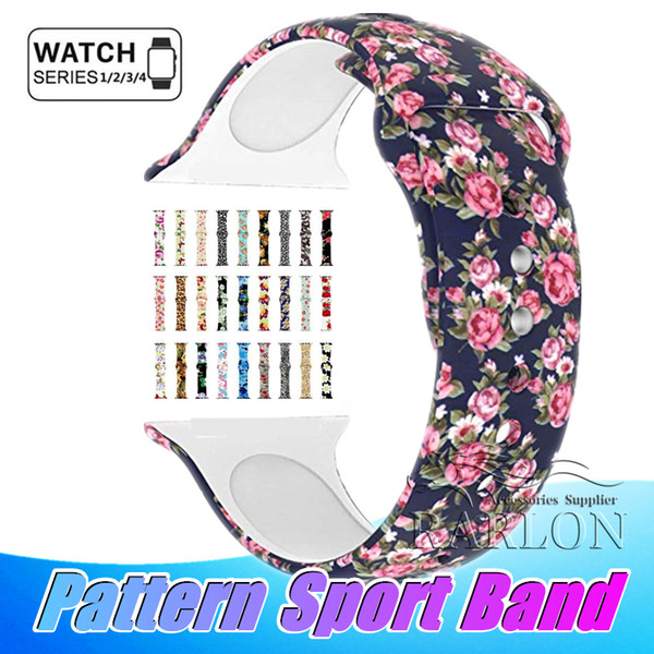New 39 color  floral band  for apple watch 38mm 42mm 40mm 44mm  ilicone fadele   pattern printed replacement band  for iwatch  erie  4 3 2 1