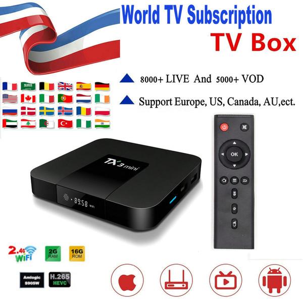 Wrold абонемент TX3 Mini 8000 + Live For США Франция CA Caribbean Поддержка 4К абонемент Smart TV Android TV Bo фото