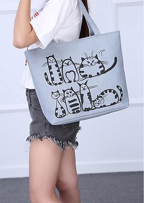 women hobo canvas shoulder bag messenger purse satchel tote shopping handbag cartoon cat printed shoulder bag (511917751) photo