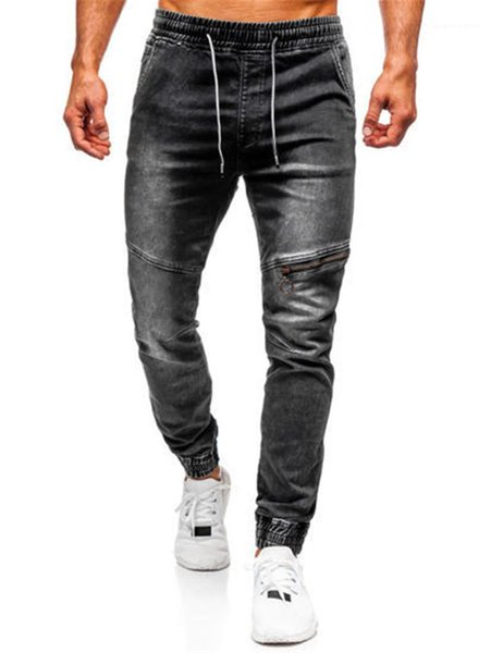 Zipper Patchwork Pants Trousers Mens Ankle Banded Washed Jeans Casual Elastic Waist Drawstring Pencil Pants Streetwear