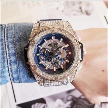 Резиновый Мужская мода Большой циферблат Кварцевые часы Luxury Мужская Полнофункци