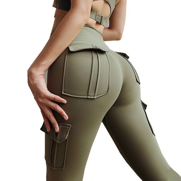 AprilGrass Высокая Талия леггинсы с карманами тренировки тренажерный зал леггинсы хруст прикладом йога брюки спорт Женщины фитнес леггинсы Flex Booty спортивные штаны фото