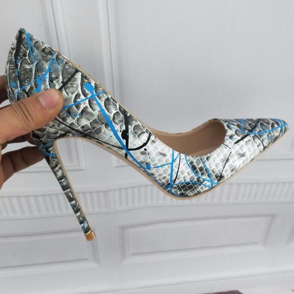 2019 бесплатная доставка мода женщины 8 см серый синий питон кожа Poined пальцы на высоких каблуках туфли на шпильках туфли на каблуках насосы 12 см 10 см фото