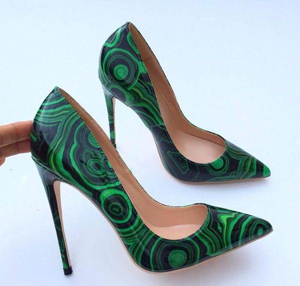 2019ss бесплатная доставка мода женщины сексуальные девушки зеленый лакированная кожа Poined пальцы на высоких каблуках туфли на шпильках туфли на каблуках насосы 12 см 8 см фото