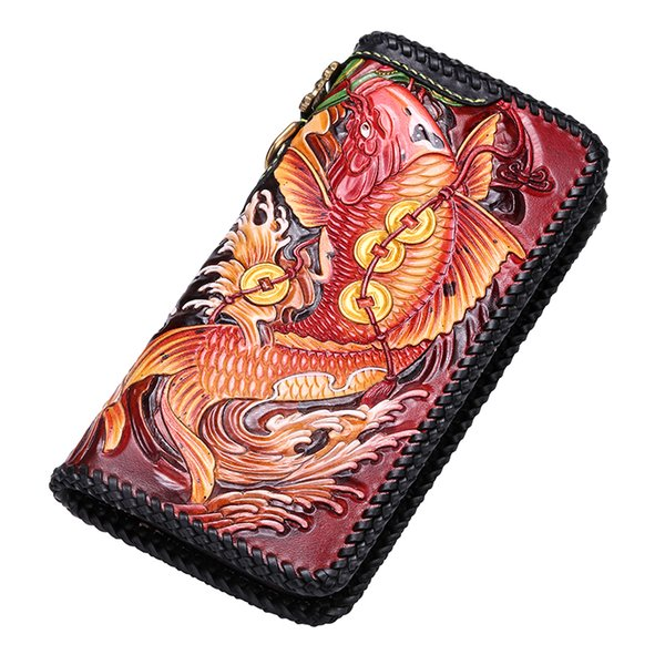 high-grade handmade genuine leather wallets chinese carving carp bag purses women men clutch vegetable tanned leather wallet (512849940) photo
