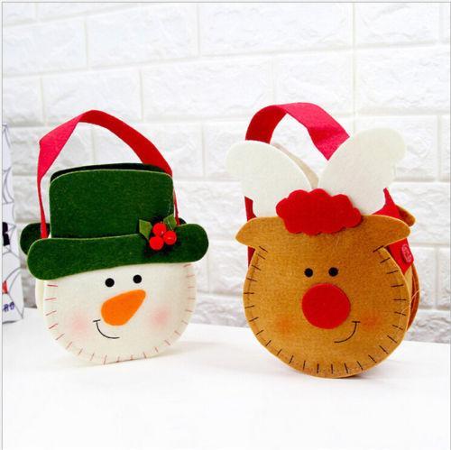 Xmas Санта-Клаус подарочные пакеты с Рождеством снеговика конфеты мешок Свадьба Декор фото