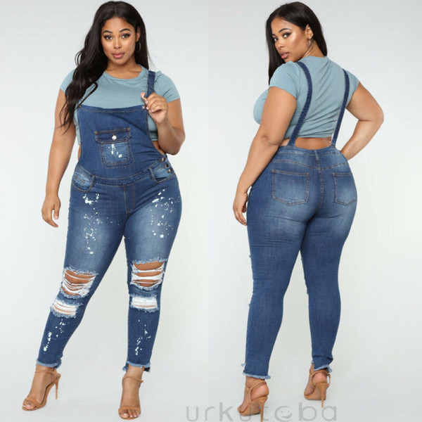 Womens Ripped Denim Jumpsuit Ladies Distressed Skinny Overall Dungaree Trousers