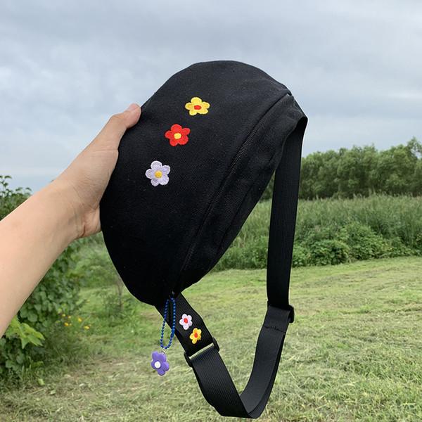 Цветок холст талии сумка Повседневная Цветочные Сумки на пояс Женщины Chest сумки на ремне, черный, желтый, белый смешанный цвет фото