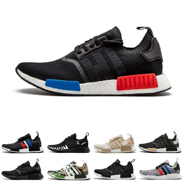 Adidas NMD R1 Бросился R1 мужские кроссовки тройной черный белый бежевый белый синий NBHD