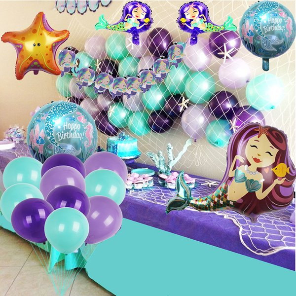 Mermaid Party Supplies Set Decoration Mermaid Bunting Banner Fish net Latex Balloons Mermaid Balloons for Girl's Party Under the Sea Theme