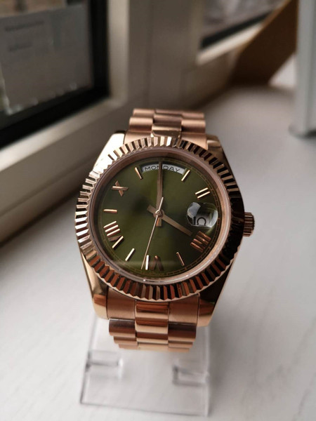 2019 Luxury Fashion Men's Watch Seagull Automated Mechanical Sapphire Watch Folding Buckle day date Watch Green Rose Gold Men's brand