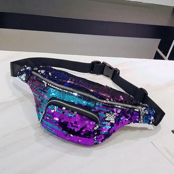 new pretty sequin glitter waist fanny pack belt bum bag pouch hip purse zipper pouch running bag lovely messenger chest (514083480) photo