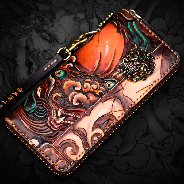 handmade wallets hand carving lion zipper purses women men long clutch vegetable tanned leather wallet card holder (513252455) photo