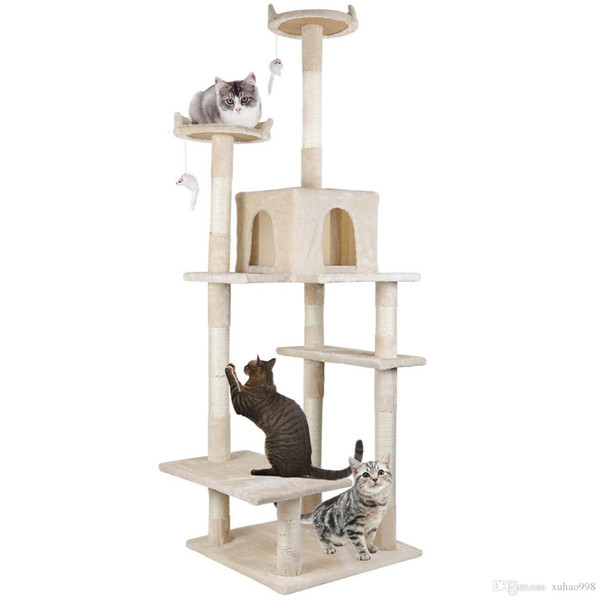 cat kitty tree tower condo furniture scratch post pet home bed beige (550753320) photo