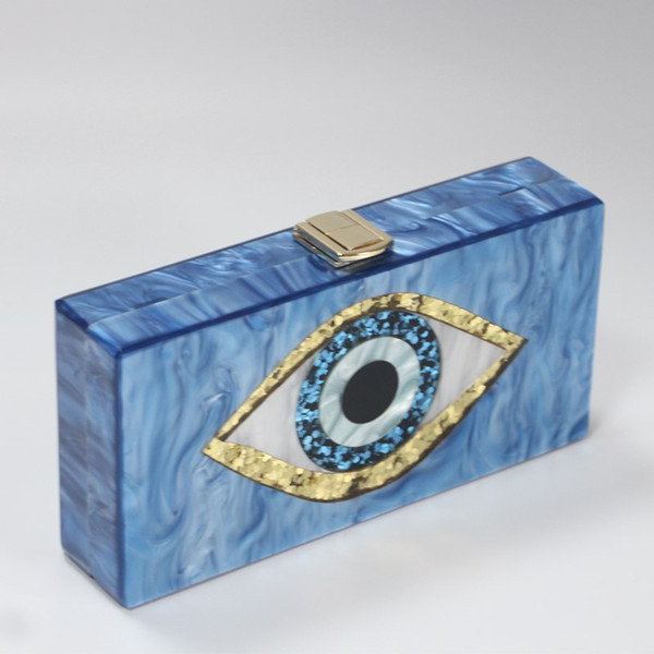 pearl light blue evil eye gold glitter metal clasp acrylic purse bag wallet summer beach party girl evening handbga female purse (514824684) photo