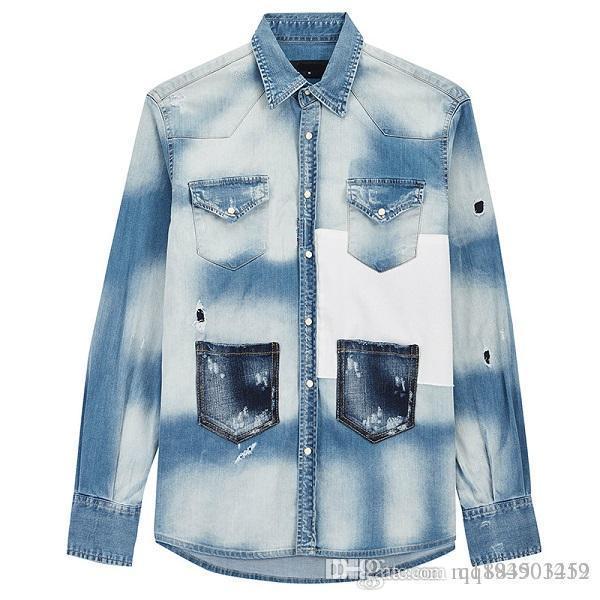 2019 Новая мода осень зима мужские куртки Дизайнерские Омывается Лоскутная Проблемные Denim Man Тонкий Streetwear Hip Hop пальто размер M-3XL фото