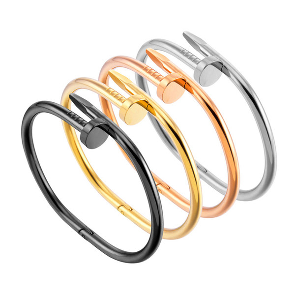 1pc imple titanium teel tainle teel nail bracelet ilver gold bracelet bangle punk for women men gift jewelry