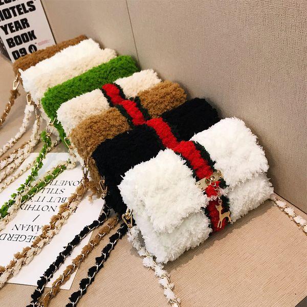 2019 women's messenger bag cashmere handmade bag mesh woven diagonal female lamb hair purses and handbags luxury (504517324) photo