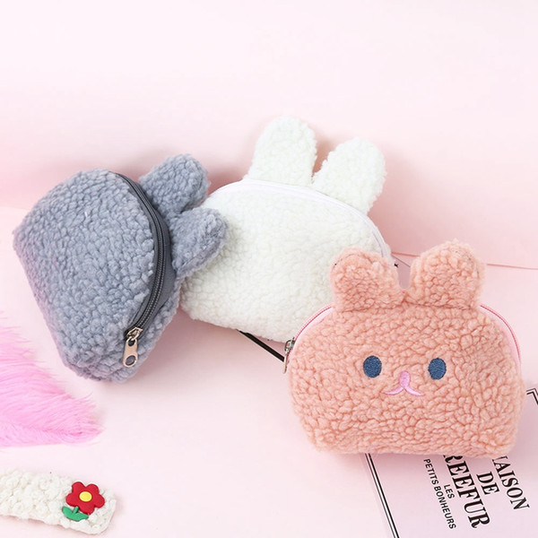 fleece plush coin purse money bag girl cute soft wallet card case cosmetic holder women make up bag (518715692) photo