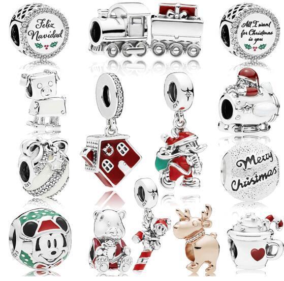 2019 новые рождественские подвески стерлингового серебра 925 бусины с Clear CZ подходит