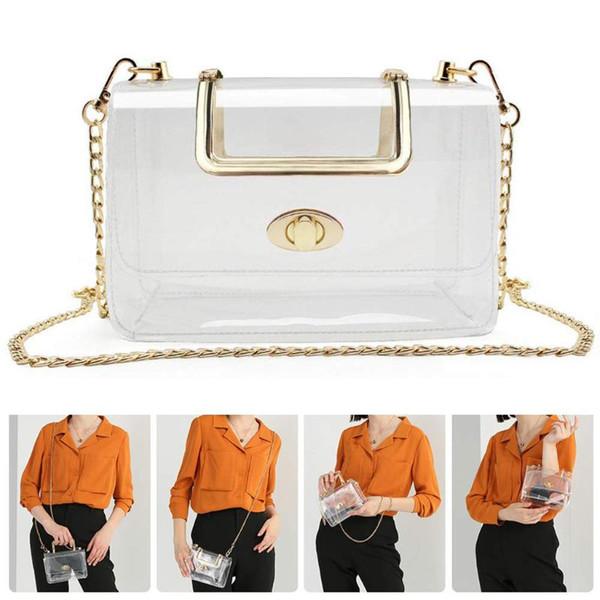 clear pack waterproof crossbody bag purse transparent adjustable shoulder bag (517083456) photo