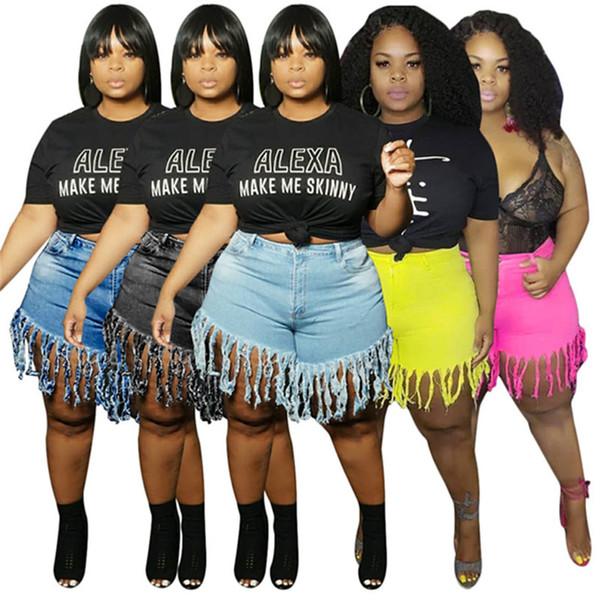 Women designer jeans denim shorts plus size tassel washed skinny pencil pants L-4XL (only jeans) solid color fashion summer clothes DHL 2932