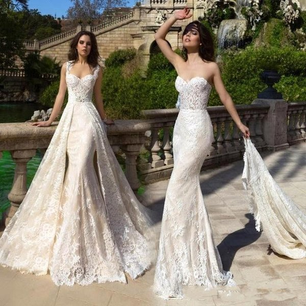 2019 кружева русалка свадебные платья милая съемный поезд свадебные платья с корот